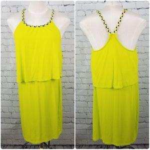 BENCH | yellow elastic waist dress with braid trim
